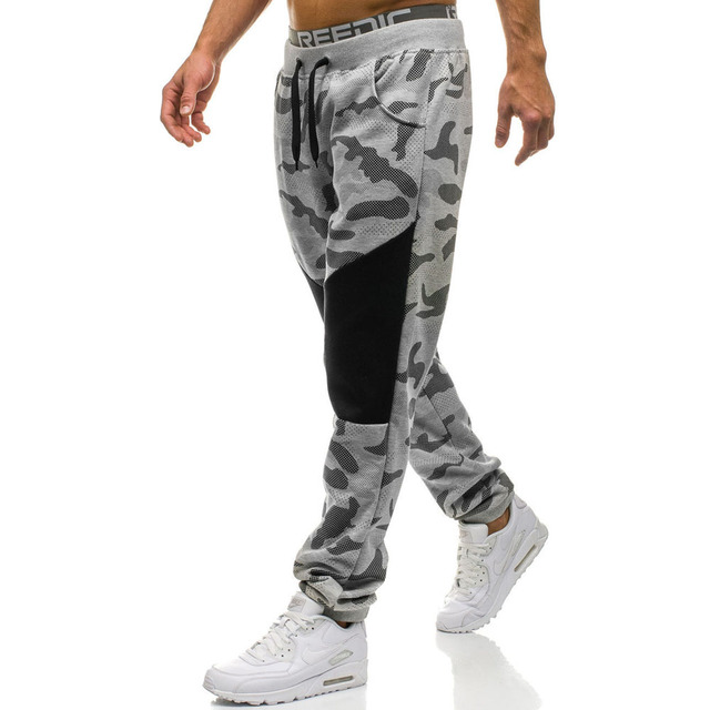 Camouflage Long Pants Men Casual Trousers Mens Loose Sport Pants Streetwear Spliced Drawstring Sweatpants Trousers Joggers Male 26
