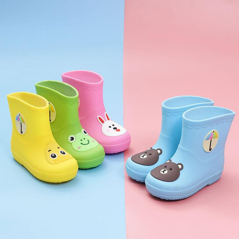 2019   Rain Boots Kids Boys Non-slip Rubber Boots Toddler Girls Waterproof Water Shoes Warm Children Rainboots Four Seasons Remo
