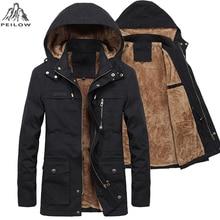 Новая зимняя мужская куртка, утепленная теплая парка с мехом и капюшоном, пальто, флисовые мужские куртки, верхняя одежда, мужская куртка, пальто размеров M ~ 5XLПарки    АлиЭкспресс