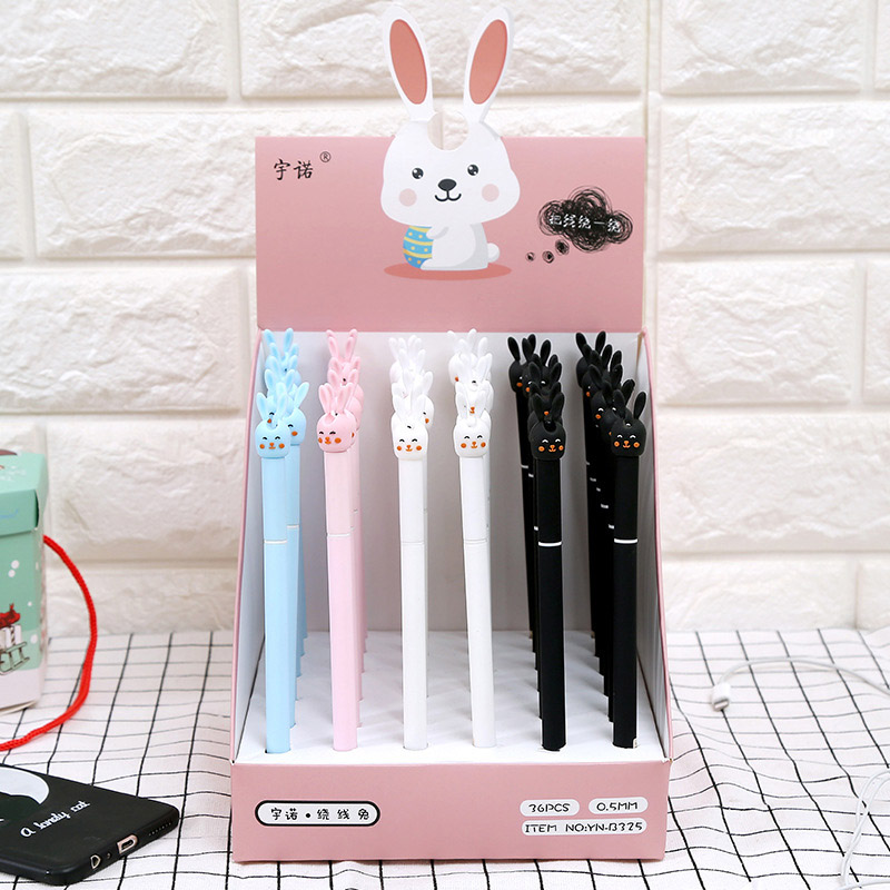 4Pcs Kawaii Rabbit Gel Pens Cute Cartoon Pens 0.5mm Black Pens For Girls Gifts School Office Supplies Korean Stationery