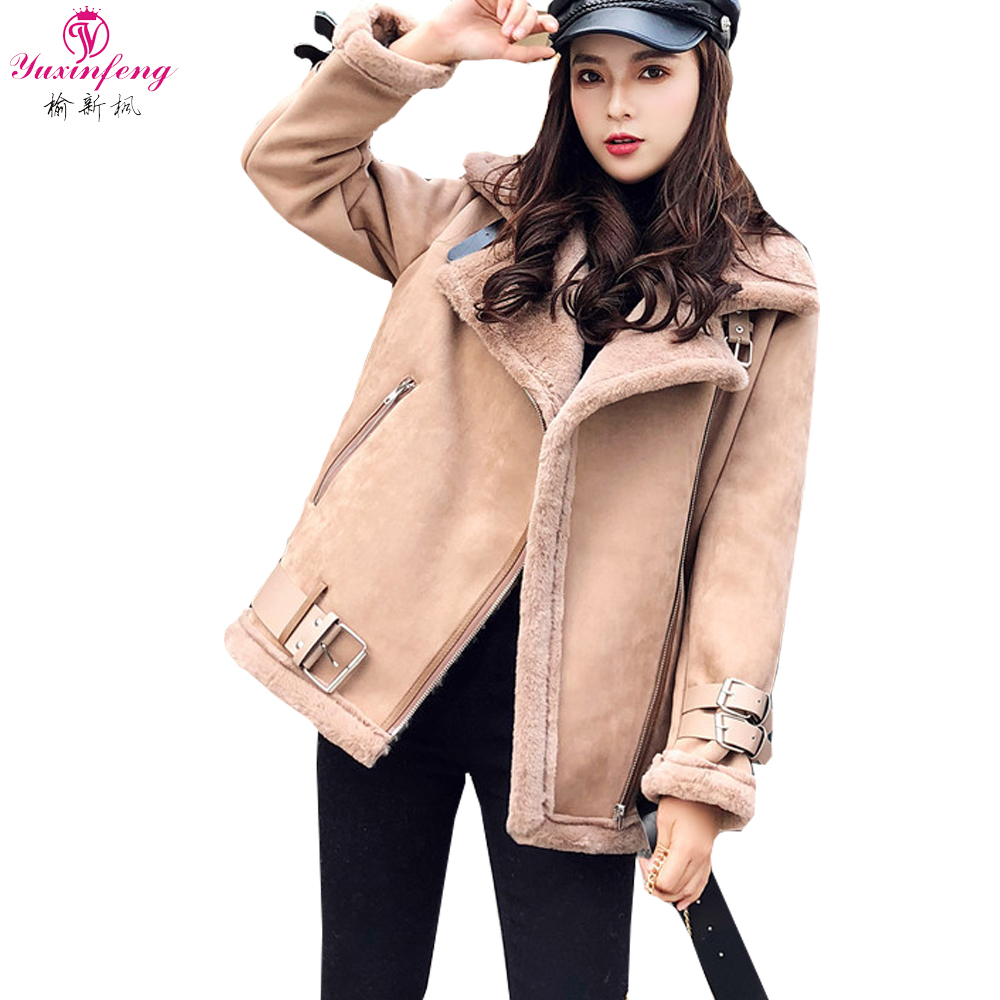 Yuxinfeng WomenWinter Faux   Leather   Lambs Wool Coat Female Slim Highstreet Thick warm   Suede     leather   jacketsSnow Outwear with sash