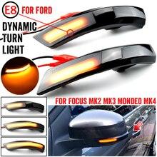 2Pcsแบบไดนามิกไฟเลี้ยวLEDด้านข้างWingกระจกมองหลังไฟกระพริบสำหรับFord Focus 2 3 Mk2 mk3 Mondeo Mk4