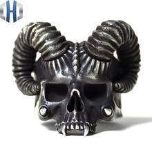 Original Design Handmade Silver Evil Spirit 925 Ring Personality Croissant Punk