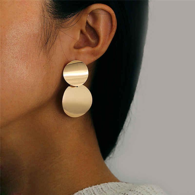 كبير الذهب بيان أقراط للنساء المعادن العصرية الفاخرة الإناث مجوهرات تصميم علوي خمر أقراط أذن منسدلة