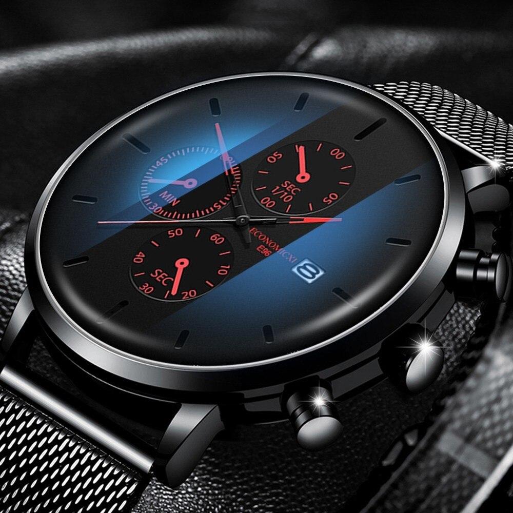 ECONOMICXI Men's Watch Luminous Quartz Wristwatch Stainless Steel Waterproof  Watch Men Clock Relogio Masculino With Calendar