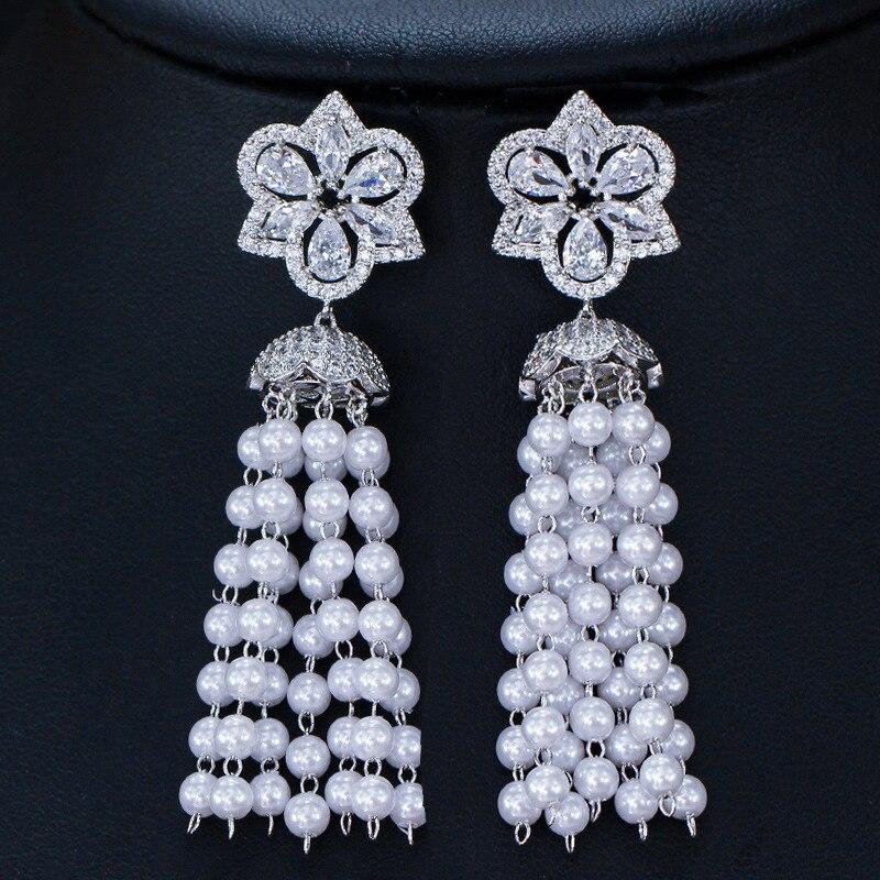 Новые модные стильные длинные жемчужные серьги кисточки, супер блестящие Кристальные серьги, S925 Серебряная игла для женщин, ювелирные изде