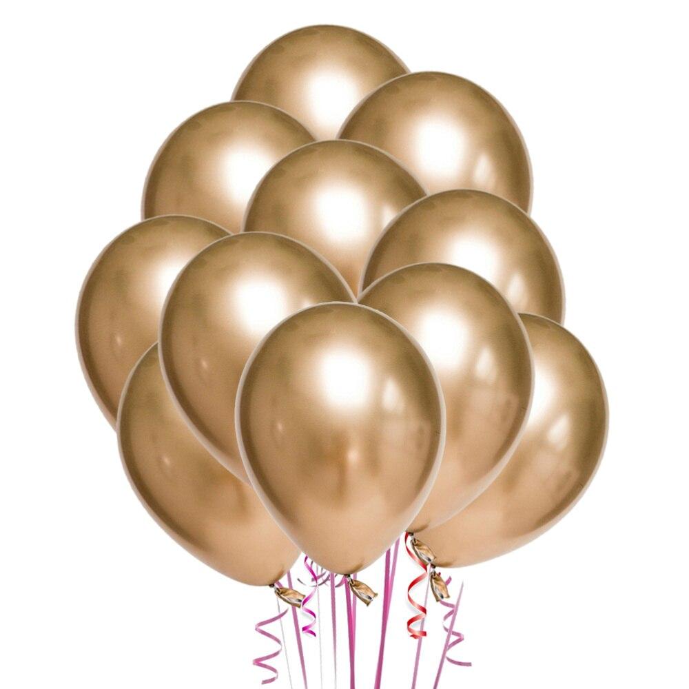 50 шт 10 дюймов латексные уплотненные воздушные шары цвета металлик вечерние украшения поставки (Золотой)
