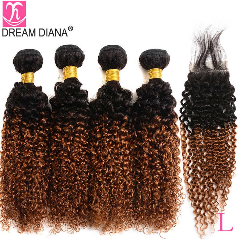 DreamDiana бразильские кудрявые пряди с закрытием 1B/30 4 пряди remy волосы с закрытием 100% Омбре человеческие волосы с закрытием