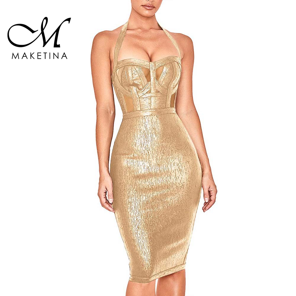 Make tina 2019 nouveau été robe de pansement femmes Sexy or licou robe de pansement sans manches Mini mode soirée robe de soirée
