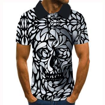 2020 nowy Polo homme moda męska koszulka Polo mężczyzna czaszka drukowanie 3D Polo męska slim casual męska i damska koszulka Polo topy tanie i dobre opinie krótkie REGULAR Elegancko na luzie guzik Drukuj POLIESTER Szybkoschnące Stałe