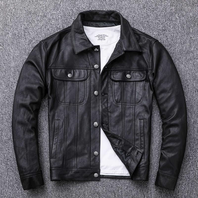 Genuine Leather Jacket Men Spring Autumn 100% Goatskin Leather Coat Short Motorcycle Leather Jackets Cuero Genuino