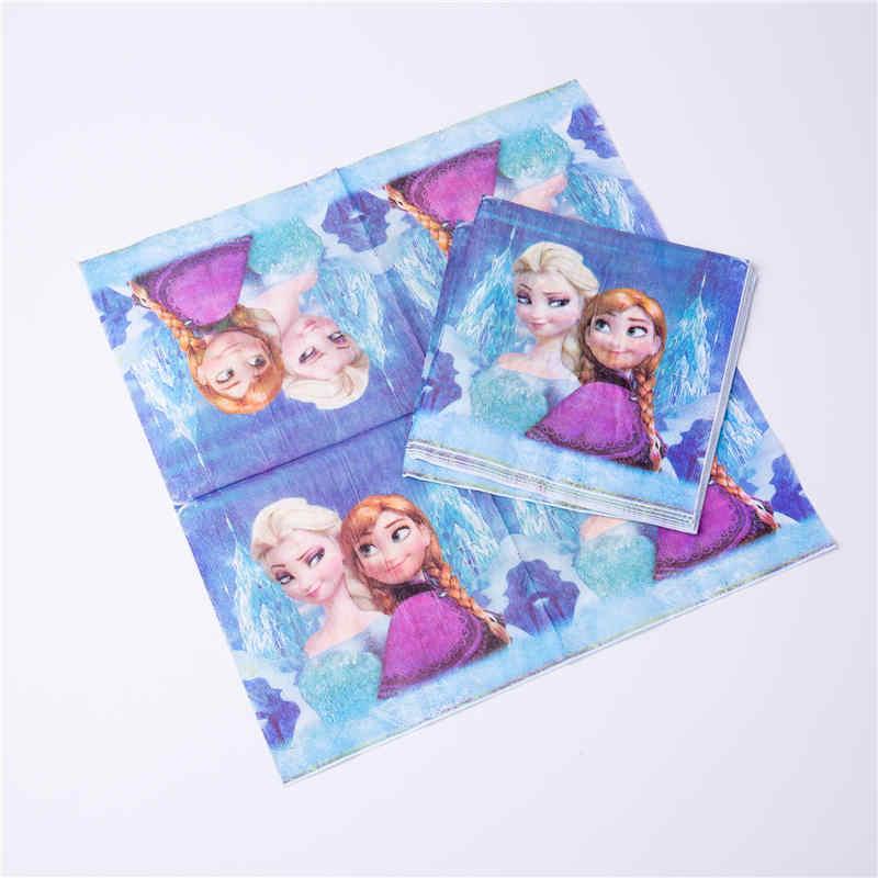Bevroren Elsa En Anna Feestartikelen Wegwerp Servies Verjaardag Baby Shower Decoratie Tafelkleed Banner Papier Platen Ballon