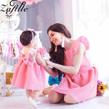 ZAFILLE Flare Sleeve Baby Girl Clothes Lace Bow Princess Birthday Party Dress Solid Girls Clothing Toddler Infant Summer Dress newborn girl infant baby birthday wedding party dress ball gown princess lace up long sleeve front bow kids girl clothes