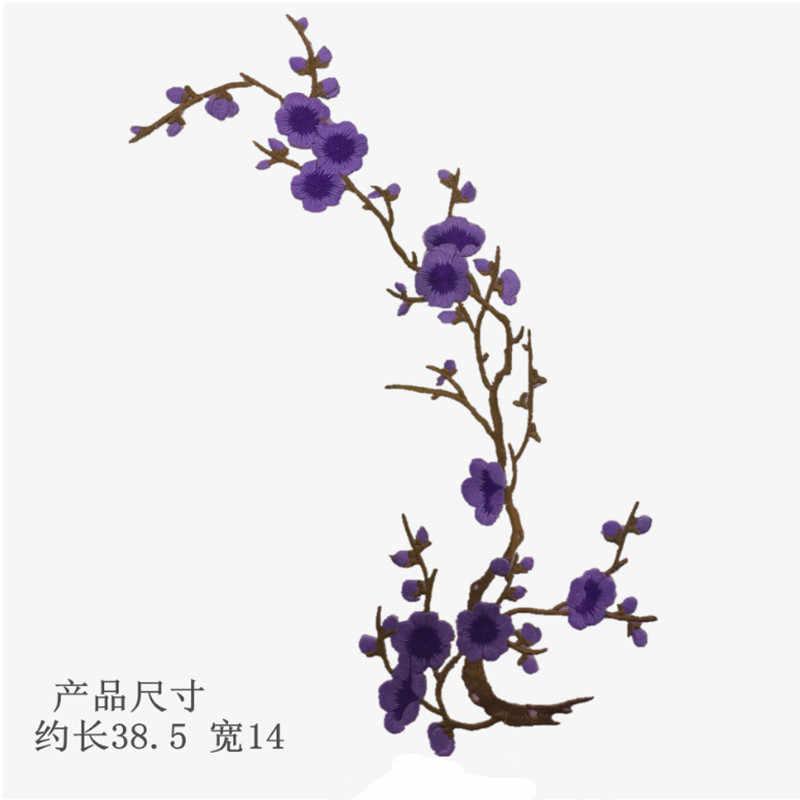 Hot Plum Blossom Bunga Bordiran Pakaian Bordir Patch Stiker Kain Besi Pada Menjahit Pada Patch Kerajinan Jahit Perbaikan Bordir