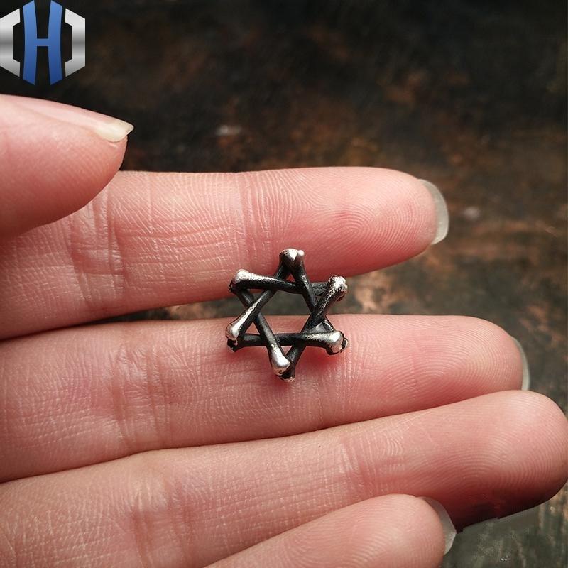 Boucles d'oreilles humérales faites à la main en argent Sterling 925 avec étoile à Six branches pour hommes et femmes - 4