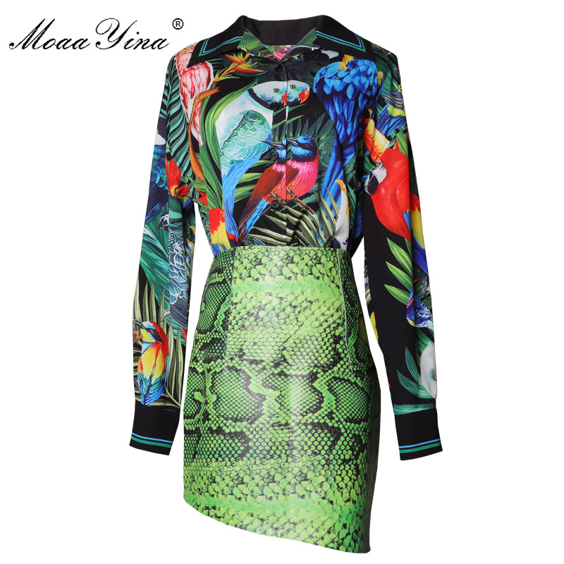 MoaaYina Fashion Designer Set Spring Women Long Sleeve Green Leaf Parrot Shirt Print Tops+Asymmetrical Skirt Two-piece Suit