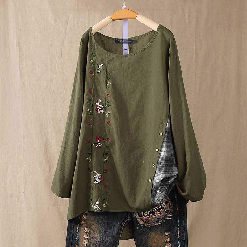 ZANZEA Women Vintage Embroidery Blouse Autumn Long Sleeve Plaid Check Pacthwork Shirt Casual Cotton Linen Blusas Tunic Tops 5XL