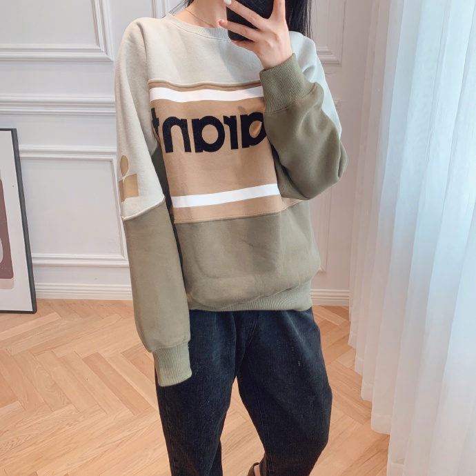 New Women Cotton Letter Sweatshirt Autumn Winter Long Sleeve O Neck Patchwork Femme Loose Pull Top