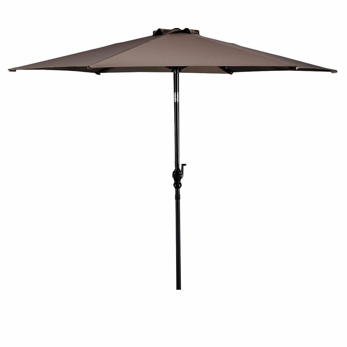 Costway 9ft Patio Umbrella Patio Market Steel Tilt w/ Crank Outdoor Yard Garden (Tan)