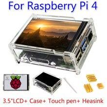 Комплект для Raspberry Pi 4 Модель B 3,5 дюймов Сенсорный экран Дисплей монитор 480x320 ЖК-дисплей оболочка радиатора Экран стилус для сенсорного экрана