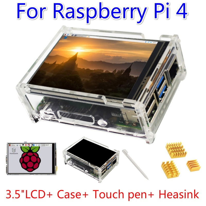 Kit For Raspberry Pi 4 Model B 3.5 Inches Touch Screen Display Monitor 480x320 LCD 2019 Shell Heatsink Screen Touch Pen