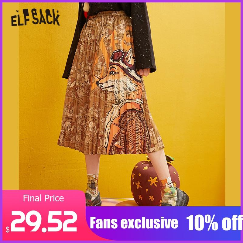 ELFSACK Fox Printed High Waist Pleated Skirts Women 2019 Winter New Fashion A Line Skinny Office Ladies Daily Long Skirt