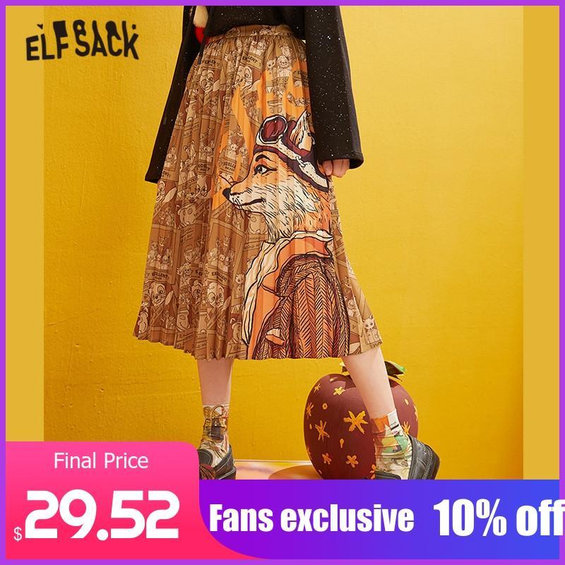 ELFSACK Fox Printed High Waist Pleated Skirts Women 2019 Winter New Fashion A Line Skinny Office Ladies Daily Long Skirt