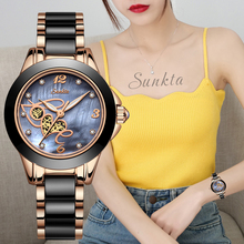 SUNKTA Women Watches Top Quality Ladies Rhinestone Watch Luxury Rose Gold Black Ceramic Waterproof Watches Woman Classic Series luxury white ceramic water resistant classic easy read sports women wrist watch free shipping top quality lady ceramic watches