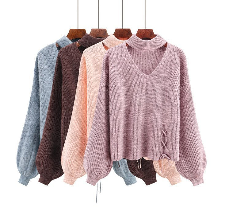 CHRLEISURE Women's Sweaters Winter V-neck Sexy Women's Knitted Jacket Trend Bandage Winter Clothes Women 2