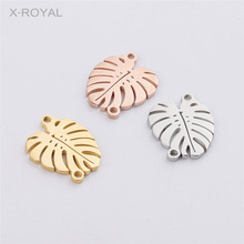 X-ROYAL 10Pcs/lot Stainless Steel Geometric Leaf Shape Charms Connectors DIY Jewelry Findings 14*16mm