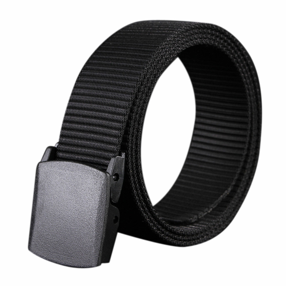 Canvas-Belt Automatic Buckle Plastic Ceinture Tank-Pattern Solid-Color Men Wild-Men-Canvas-Belt-Hypoallergenic-Metal-Free
