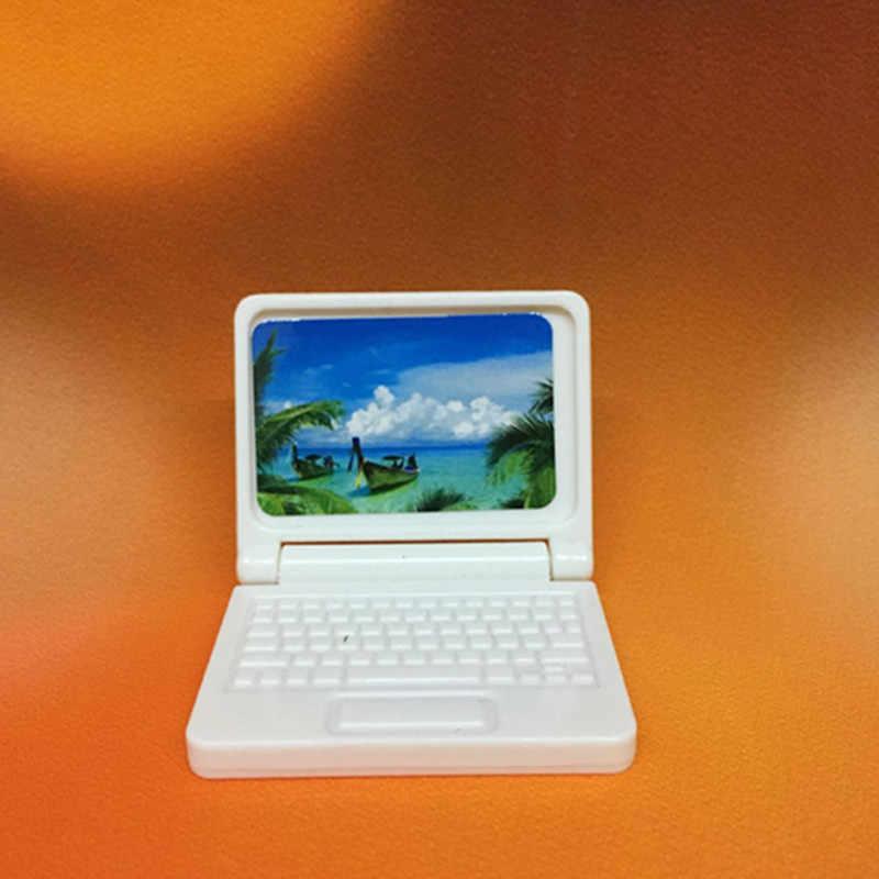 Losowy kolor kreatywny prezent domek dla lalek miniaturowe nowoczesne meble komputerowe dla zabawka dla dzieci meble dla lalek laptop