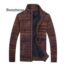 Casual Men's Sweater Thick Winter Autumn Warm Polyester Male Cardigan Stand Collar Plus Size M- XXL XXXL Fahion