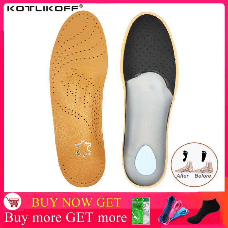 Leather Orthotic Insole For Shoes Flat Feet Arch Support Orthopedic Shoes Sole Insoles For Men And Women's shoes Pads