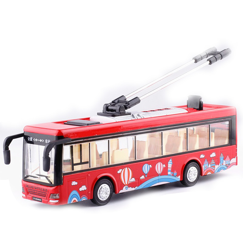 Kids Toys Alloy Sightseeing Bus Model 1/32 Trolley Bus Diecast Tram Bus Vehicles Car Toy With Light & Sound Collections