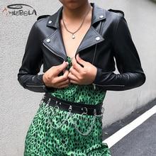 Imily Bela Fashion Leather Jacket Women Casual Long Sleeve Turn-down Collar Zipper Short Coat Autumn Winter Streetwear