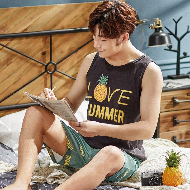New 2020 Spring Summer Men Pajamas Sleeveless Male Pajama Set Men Pure Full Cotton Pajamas For Men Sleepwear Suit Homewear 3XL