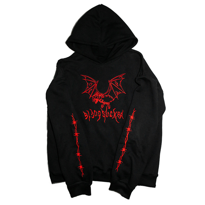 Cool Fashion Casual Gothic Goat Demon Bat Embroidery Pollover Black Sweatshirt Heavy Metal Style Hoodies Sudadera Punk Fleece