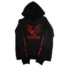 Sudadera negra con bordado de murciélago y demonio de cabra gótica informal, sudadera con capucha de estilo heavy metal, sudadera Punk de forro polar