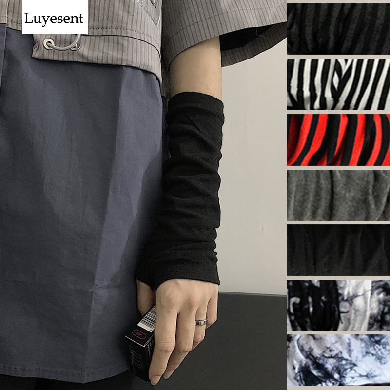 Adults Black And Red Striped Retro Gothic Punk Arm Warmer Gloves