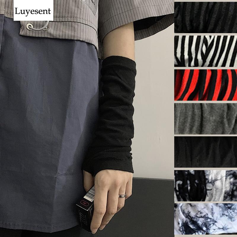 Black Punk Gothic Unisex Fingerless Gloves Cuff Women Men Ninja Sport Outdoor Elbow Length Mittens 2020 Cool Stretch Arm Warmer