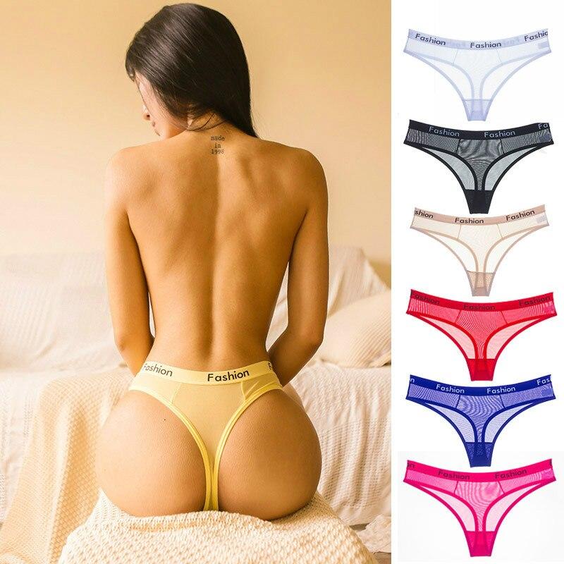 European and American Style Women's Seamless Thong Women's Transparent Low Waist Temptation Ultra-thin Plu Size Sexy Panties