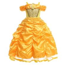 Robe de princesse comme la Belle et la bête pour filles, tenue de princesse Cosplay Disney, pour fête danniversaire de mariage