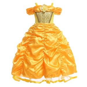 Image 1 - Vestidos bella de la bella y la bestia para niña, disfraz de princesa, disfraces de Cosplay, vestido de Bella de Disney, ropa de fiesta de boda y cumpleaños