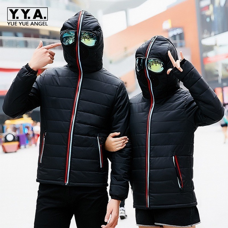 Personality Lovers Cosplay Mask Down Jacket Men Women Motorcycle Outerwear Clothes Hooded Parka Fashion Winter Casaco Masculino
