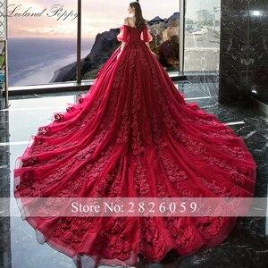 Image 3 - Vestido de Noiva kadın balo kırmızı düğün elbisesi 2020 kapalı omuz puf kollu katedrali tren dantel aplikler gelin elbise