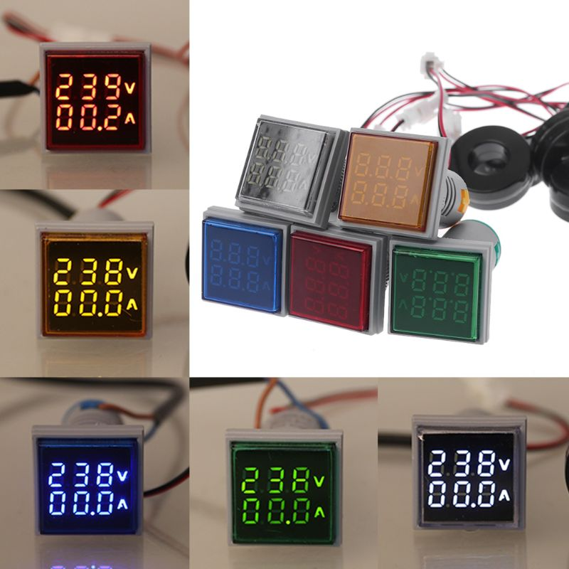 Square LED Digital Voltmeter Ammeter 22mm Signal Lights Volt Voltage Ampere Current Meter Indicator Tester Measuring AC 60-500V