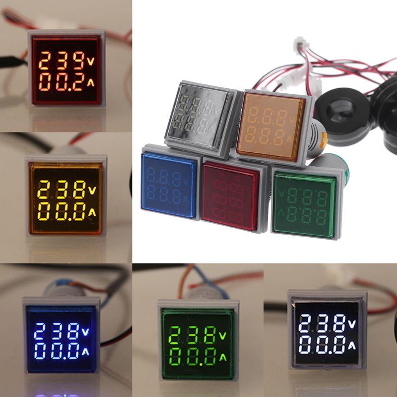 Square LED Digital Voltmeter Ammeter 22mm Signal Lights Volt Voltage Ampere Current Meter Indicator Tester Measuring AC 60-500V
