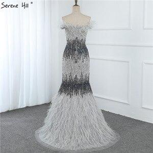 Image 5 - 두바이 디자인 그레이 럭셔리 섹시한 이브닝 드레스 크리스탈 깃털 오프 어깨 공식 드레스 2020 고요한 힐 LA70242