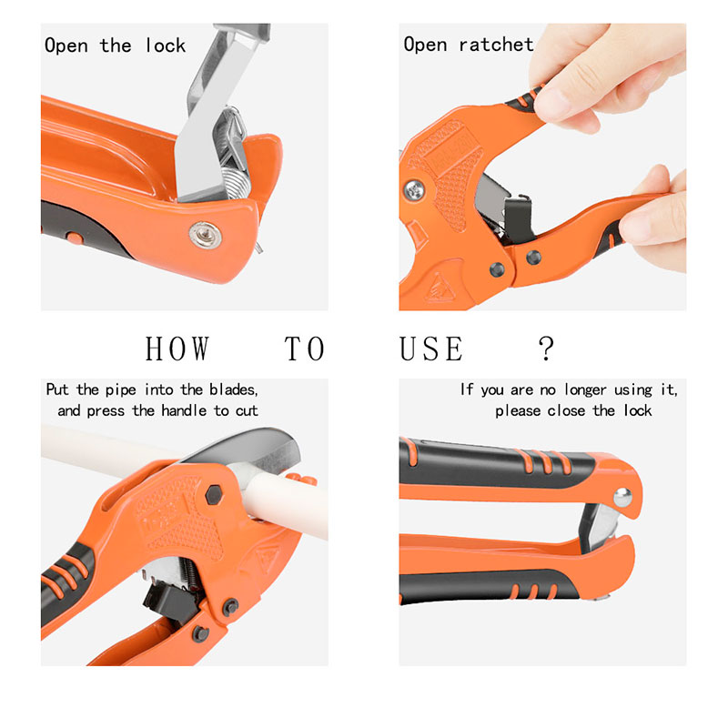 AIRAJ PVC Cutter Ratchet-type Pipe Cutter for Cutting PVC PPR Plastic Hoses and Plumbing Pipes Up to 1-1/4 inches tube cutter